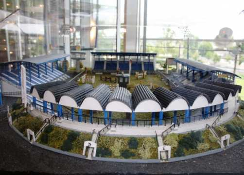 Another beautiful exhibit is this handmade stadium model of the main stadium in Aachen.
