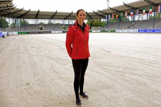 Simone Blum in the Deutsche Bank Stadium. Foto: Aachen International Jumping