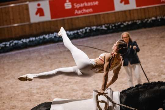 """Janika Derks at the start of the vaulting competitions in the """"Prize of the Sparkasse"""". Photo: CHIO Aachen/ Franziska Sack"""