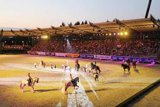 """Horse & Symphony"": Impressive show in the Deutsche Bank Stadium at the CHIO Aachen. Photo: CHIO Aachen/Andreas Steindl."