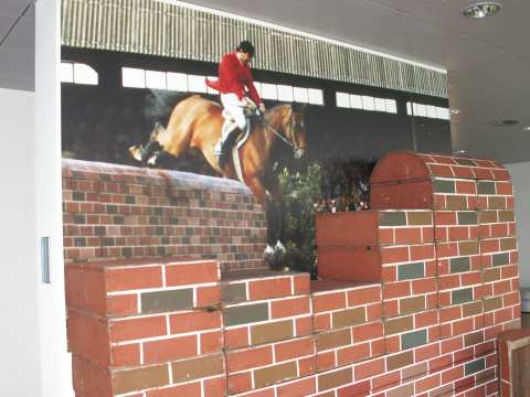 This wall is 2,32 meters high. The two show jumpers Willibert Mehlkopf (GER) and Willi Melliger (SUI) jumped it with their horses here in Aachen in 1985 and established a new record.
