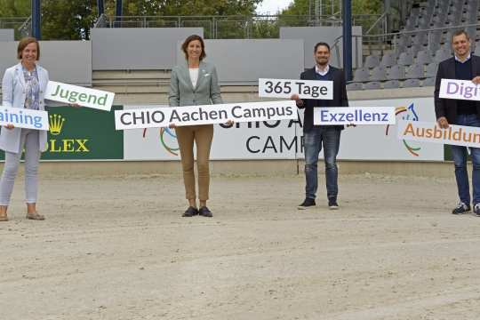 Birgit Rosenberg, Stefanie Peters, Stefan Knopp und Michael Mronz presented the CHIO Aachen CAMPUS. Photo: CHIO Aachen/ Holger Schupp