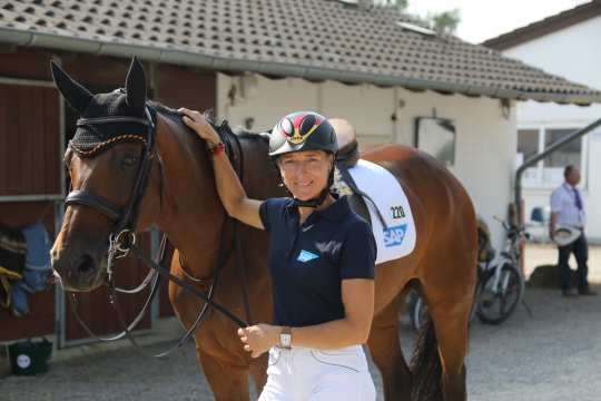 Ingrid Klimke in the stables area of the CHIO Aachen.
