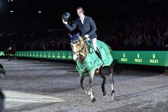 The winner in the Rolex Grand Prix of the Dutch Masters-Indoor Brabant : Niels Bruynseels with Gancia de Muze.
