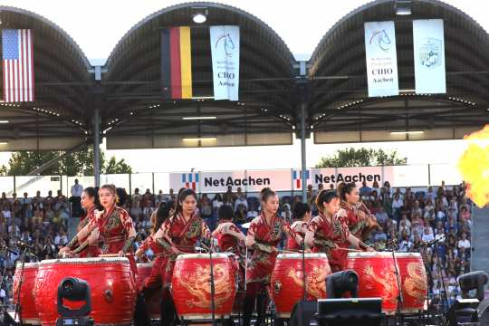 "The photo shows some of the performers of the ""Manao – Drums of China"" group during the Opening Ceremony at the CHIO Aachen 2018 . Photo: CHIO Aachen/Andreas Steindl"