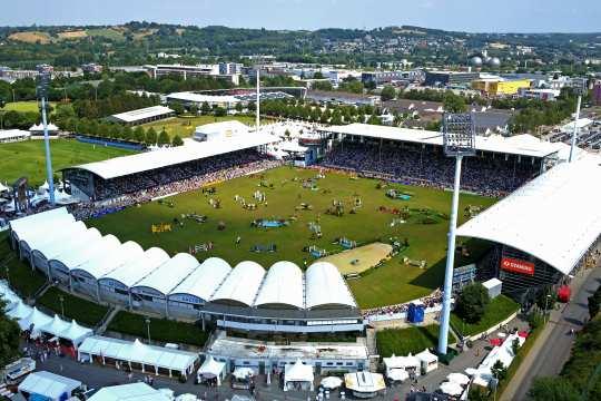 Das CHIO Aachen-Hauptstadion aus der Luft. Foto: 2pilots.de