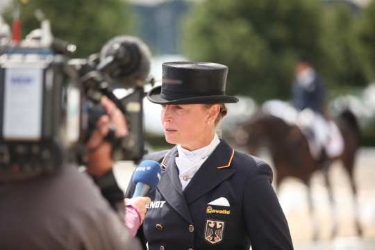 Dressage rider Isabell Werth in conversation with the WDR. Foto: Michael Strauch