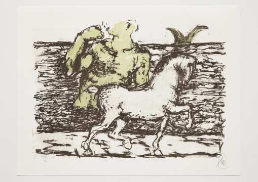 Markus Lüpertz - Troja (Motiv 2) Entstehungsjahr: 2019  Technik: Farblithografie  Motiv: 50 x 70 cm  Blatt: 61,3 x 81 cm  Auflage: 20 Exemplare, Foto: Jack Kulcke © Markus Lüpertz