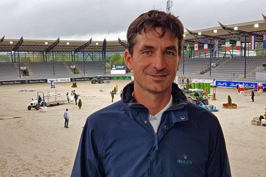 Steve Guerdat in the Deutsche Bank Stadium.